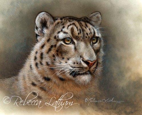 Rebecca Latham - léopard des neiges, miniature en aquarelle à ivorine.